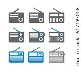 vector radio icons set with... | Shutterstock .eps vector #617197058