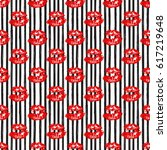 kiss  lips seamless pattern... | Shutterstock .eps vector #617219648