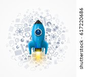 rocket with icons on the...   Shutterstock .eps vector #617220686