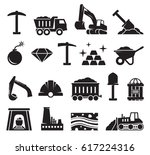 mining icons set. black on a... | Shutterstock .eps vector #617224316