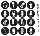 microphone icons set. white on... | Shutterstock .eps vector #617226839