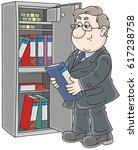 clerk putting a folder with... | Shutterstock .eps vector #617238758