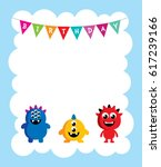 cute monster happy birthday... | Shutterstock .eps vector #617239166