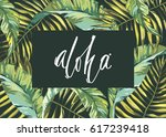 tropical leafs composition... | Shutterstock .eps vector #617239418