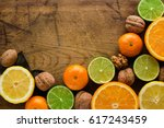 Frame Of Variety Of Fruits And...