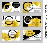 set of black and gold business... | Shutterstock .eps vector #617245598
