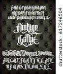 vintage gothic   modern font on ...   Shutterstock .eps vector #617246504