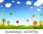 autumn cartoon landscape with... | Shutterstock . vector #61725736