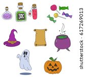 set halloween  line art... | Shutterstock .eps vector #617269013