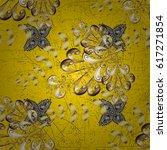 golden elements on yellow...   Shutterstock .eps vector #617271854