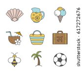 summer color icons set.... | Shutterstock .eps vector #617272676