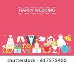 happy wedding greeting card | Shutterstock .eps vector #617273420