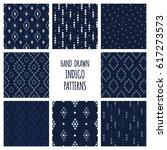 set of hand drawn indigo blue... | Shutterstock .eps vector #617273573