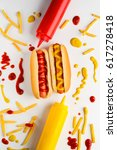 appetizing hot dogs with... | Shutterstock . vector #617278418