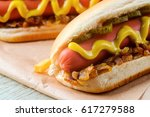 traditional hot dogs with... | Shutterstock . vector #617279588