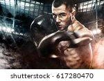 sportsman muay thai boxer... | Shutterstock . vector #617280470