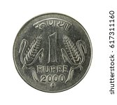 Small photo of 1 indian rupee coin (2000) obverse isolated on white background