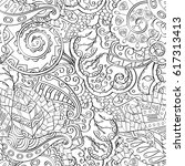 tracery seamless pattern.... | Shutterstock .eps vector #617313413