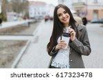 business women walking on the... | Shutterstock . vector #617323478