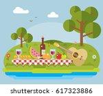 picnic on nature flat... | Shutterstock .eps vector #617323886