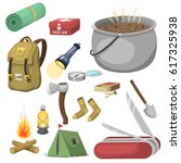 hiking camping equipment base... | Shutterstock .eps vector #617325938