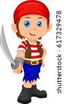 pirate boy holding sword | Shutterstock .eps vector #617329478