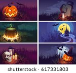 halloween banners with the... | Shutterstock .eps vector #617331803