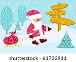 santa carries a bag of gifts on ... | Shutterstock .eps vector #61733911