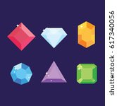 pack of six colored gemstones.... | Shutterstock .eps vector #617340056