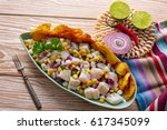 ceviche peruvian recipe with...   Shutterstock . vector #617345099