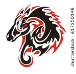tribal horse head with a dragon ... | Shutterstock .eps vector #617350148