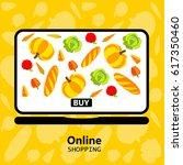 online shopping  laptop ... | Shutterstock .eps vector #617350460