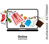 online shopping  laptop ... | Shutterstock .eps vector #617350664