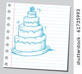 hand drawn wedding cake | Shutterstock .eps vector #61735993