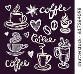 coffee collection   hand drawn... | Shutterstock .eps vector #617364098