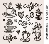 coffee collection   hand drawn... | Shutterstock .eps vector #617364104