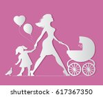 mom with daughter and baby in... | Shutterstock . vector #617367350