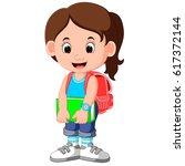 cute girl go to school cartoon   Shutterstock .eps vector #617372144