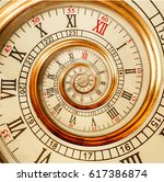 antique old spiral clocks...   Shutterstock . vector #617386874