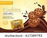 sandwich chocolate cookies... | Shutterstock .eps vector #617389793