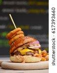 gourmet craft bacon... | Shutterstock . vector #617393660