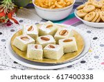indian sweet food badam barfi... | Shutterstock . vector #617400338