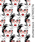 fashion girl seamless pattern.... | Shutterstock .eps vector #617405276