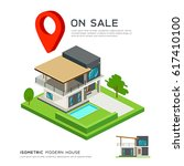 modern house isometric with red ... | Shutterstock .eps vector #617410100