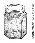 glass  jar  honey illustration  ... | Shutterstock .eps vector #617411510