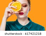 close up isolated portrait of... | Shutterstock . vector #617421218