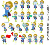 set of various poses of super... | Shutterstock .eps vector #617426864