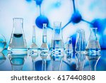 different laboratory glassware... | Shutterstock . vector #617440808