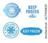 set of blue keep frozen product ... | Shutterstock .eps vector #617440829
