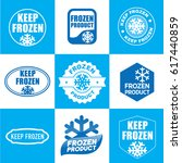 set of blue keep frozen product ... | Shutterstock .eps vector #617440859